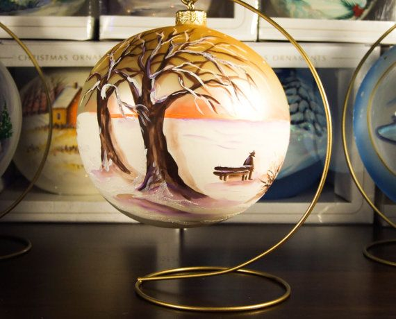 Glass Bauble on metal stand Hand Painted Christmas Decoration high quality 100mm