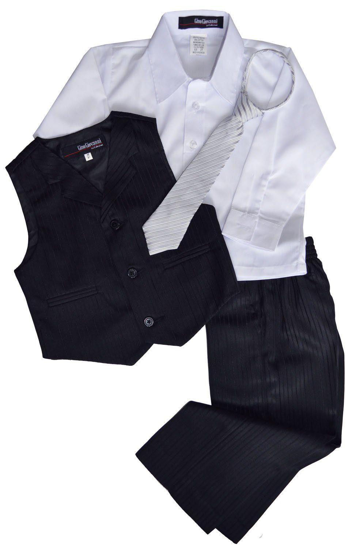 Gino Giovanni Pinstripe Boys Formal Dresswear Vest Set