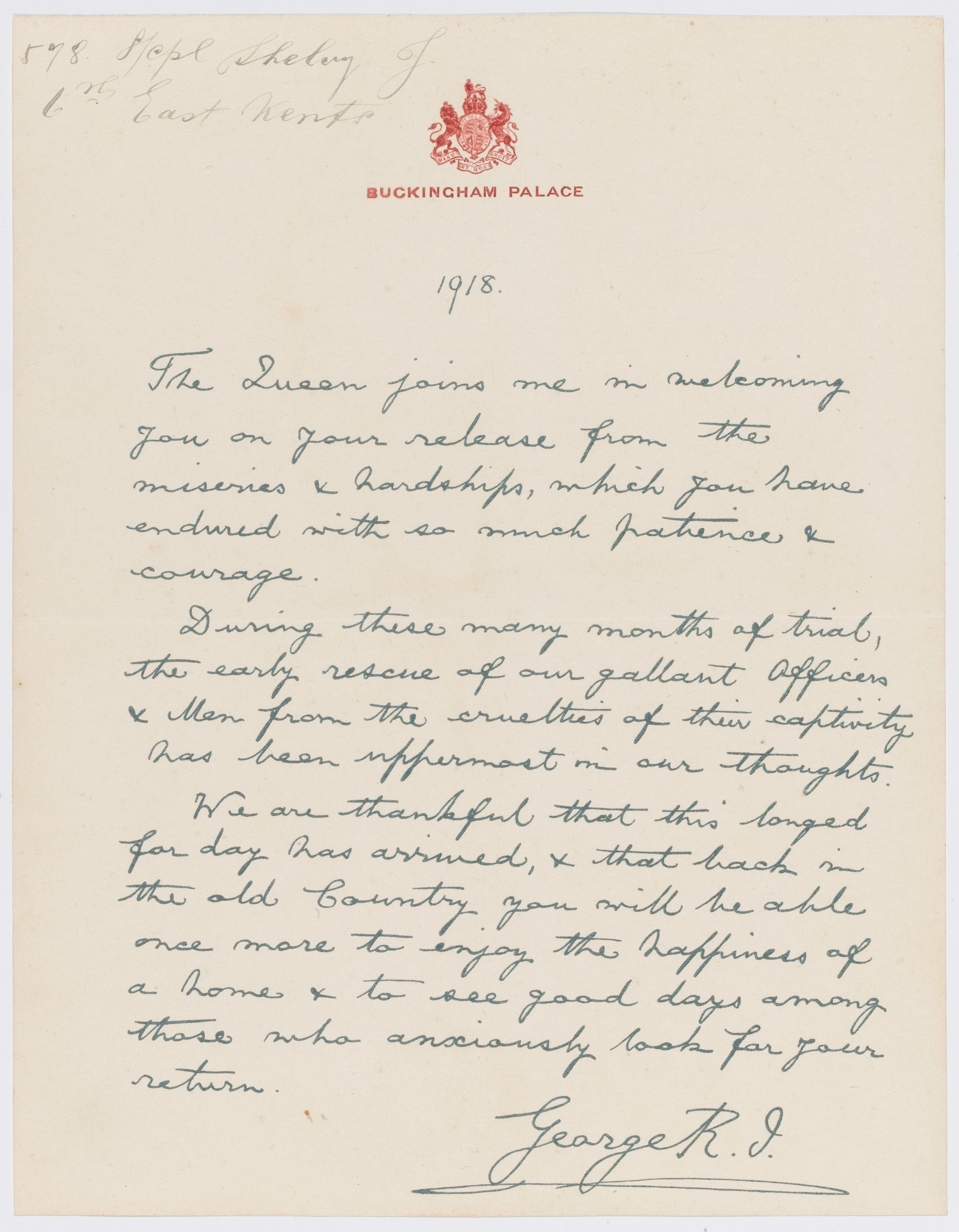 Letter From King George V To Lance Corporal Shelvey