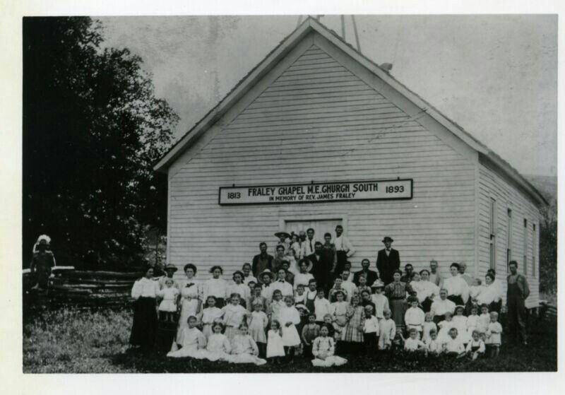 This Methodist Church was named in honor of the minister James Elihu Fraley born 25 Jan 1815 died 7 March 1893 Sandy Hook, KY. Some records indicate he was born in 1813. James was married to Jemima Waggoner.