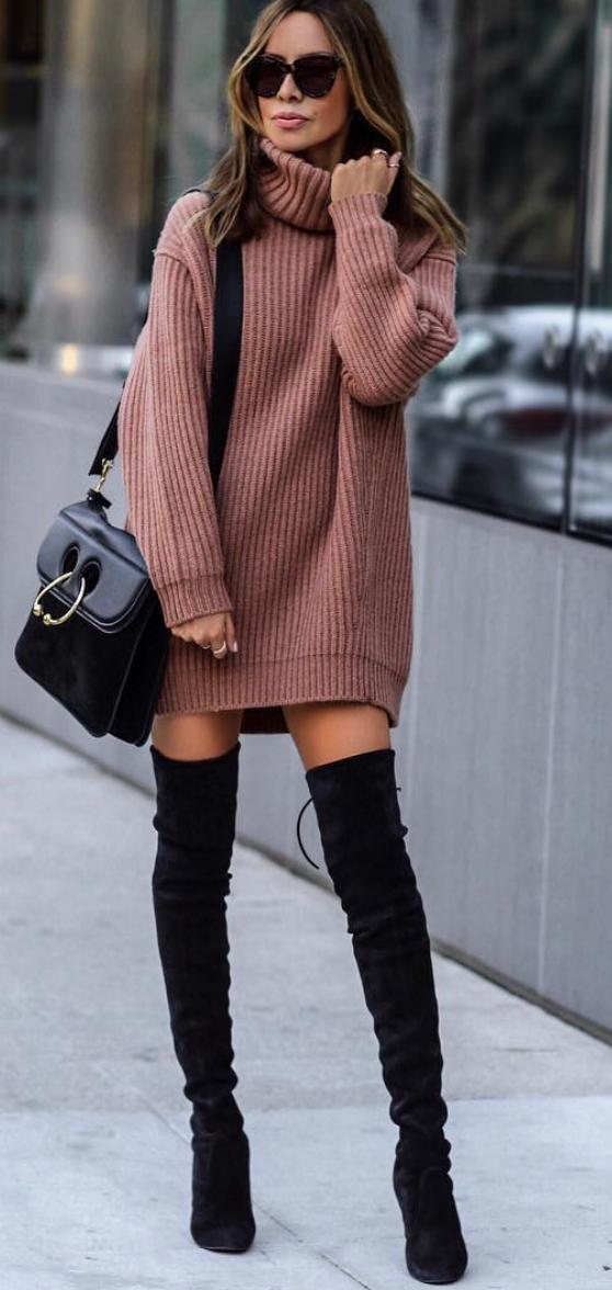 robe de pull et bottine haute