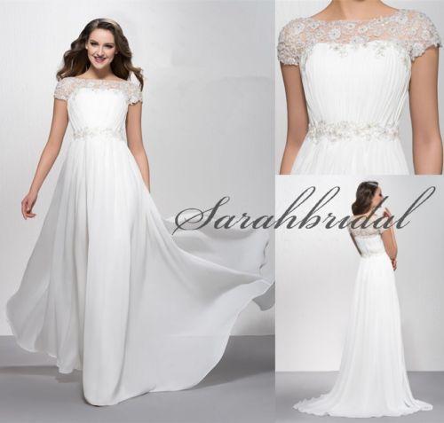 2014 Cap Sleeve A Line Long Wedding Dresses Plus Size Scoop Beads ...