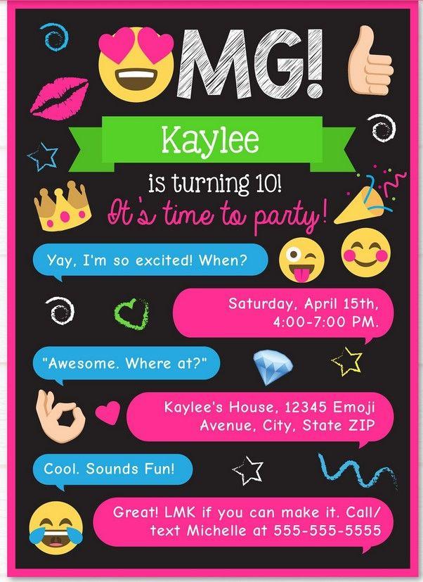 Free Printable Emoji Chat Invitation Template Emoji Invitations Emoji Birthday Invitations Emoji Birthday Party