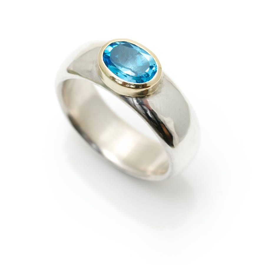 Wide Silver Ring With Semi Precious Stone | Silver ring, Stone and ...