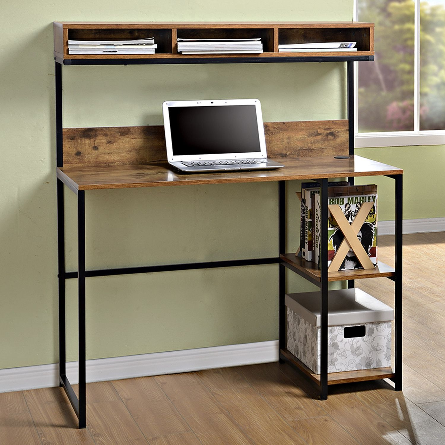Features 2 Fixed Side Shelves For Additional Storage Durable Metal Steel Frame Great For Use In Diy Computer Desk Computer Desk With Shelves Furniture