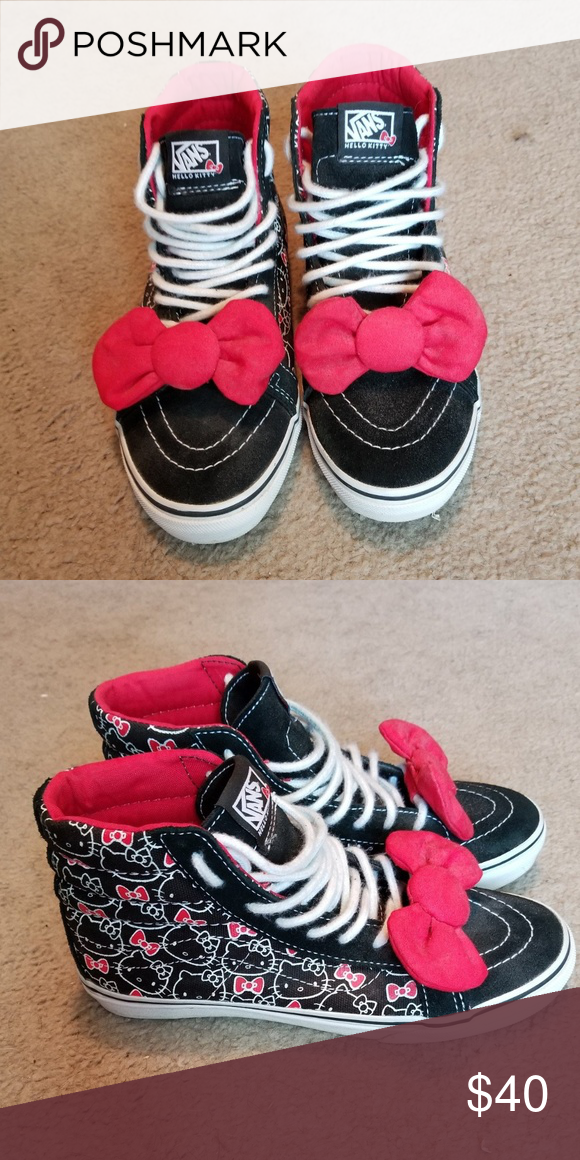 6b95187ae81 Limited Edition Hello Kitty High Top Vans Womens size 5.5 Has a red bow on  each shoe lace that can be removed. In excellent condition Vans Shoes  Sneakers