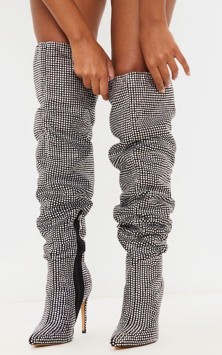 Diamante stiletto heel over the knee boot in 2020