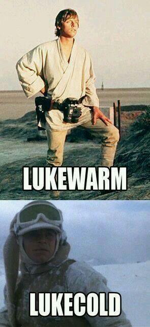 Luke Warm Luke Cold Star Wars Puns Star Wars Humor Star Wars Memes