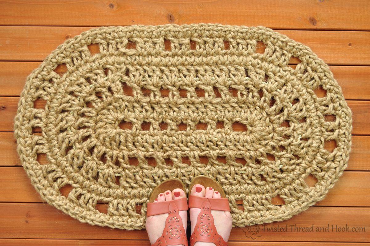 Oval Door Mat   Rope Mat   Crochet   Handmade To Order