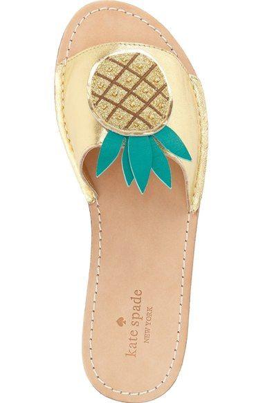 1709c5401 Kate Spade pineapple flats Slide Sandals