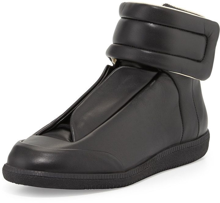 Maison Margiela Future Leather High-Top Sneaker, Black