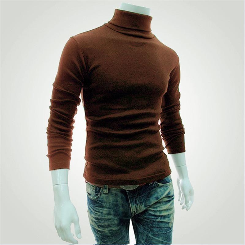 Men Stylish Knit Casual Turtleneck Slim Winter Classic Sweater