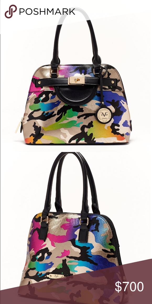 84c1b74f595 Authentic Versace multi-color camouflage bag Mid sized AUTHENTIC Versace,  brand new. V19.69 RARE! Versace Bags Satchels