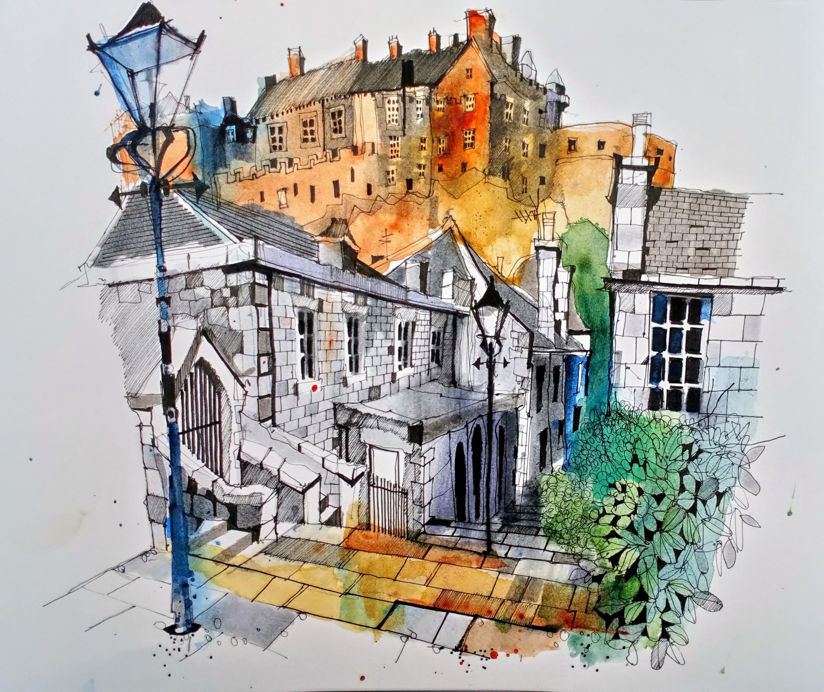 Artist Ian Fennelly Title Edinborough Castle From The Vennel