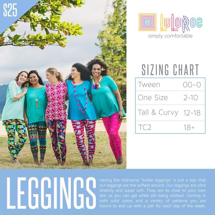 1a944f00dbddb LuLaRoe leggings size chart, including the new TC2. For more info, join my