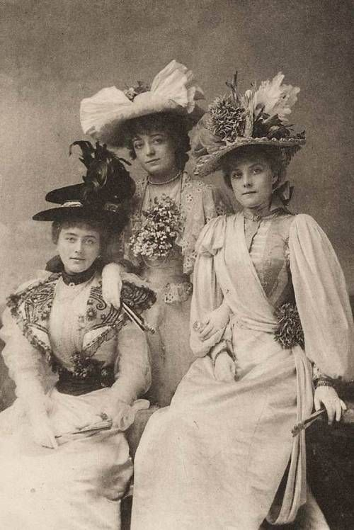 """history-of-fashion: """" 1896 A publicity photo for """"The Geisha"""", the actresses shown are Alice Davis, Blanche Massey and Hetty Hamer (V&A Theatre Museum) """""""