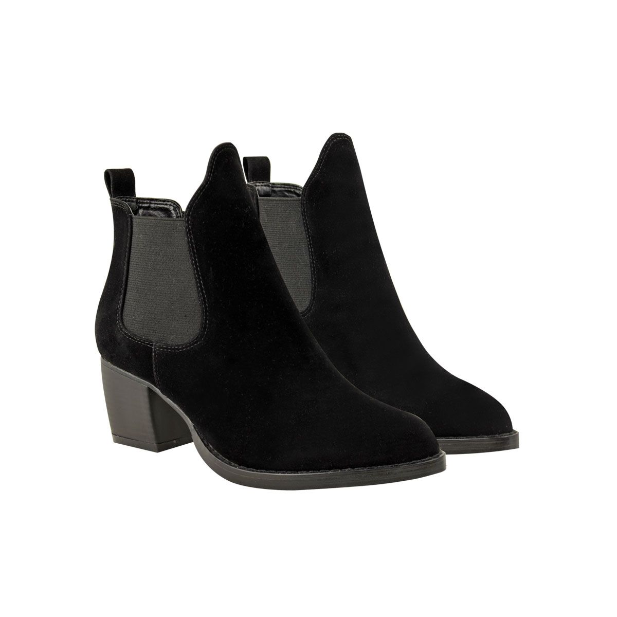 black suede pointed chelsea ankle high chunky cuban heel boots