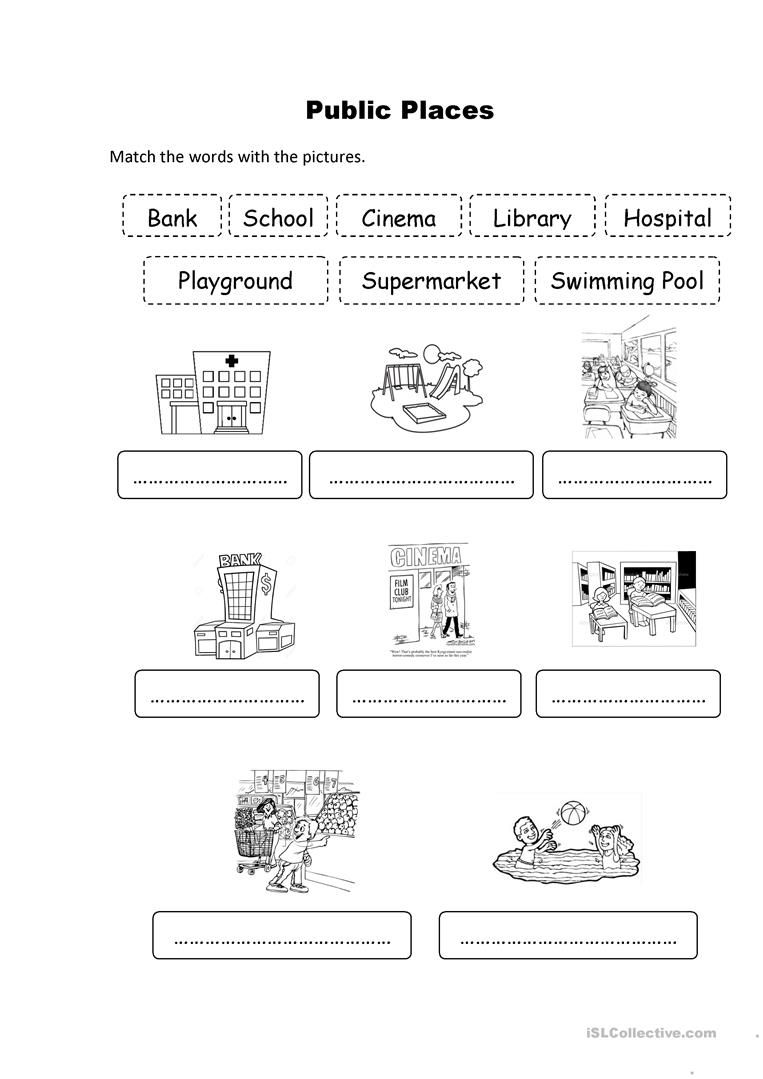 Public Places worksheet - Free ESL printable worksheets made by teache…    Kindergarten worksheets [ 1079 x 763 Pixel ]