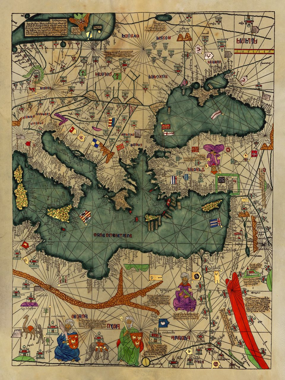 Medieval map all kingdoms of the world catalan atlas 1375 4 14th century medieval map all kingdoms of the world catalan atlas 1375 4 gumiabroncs Gallery