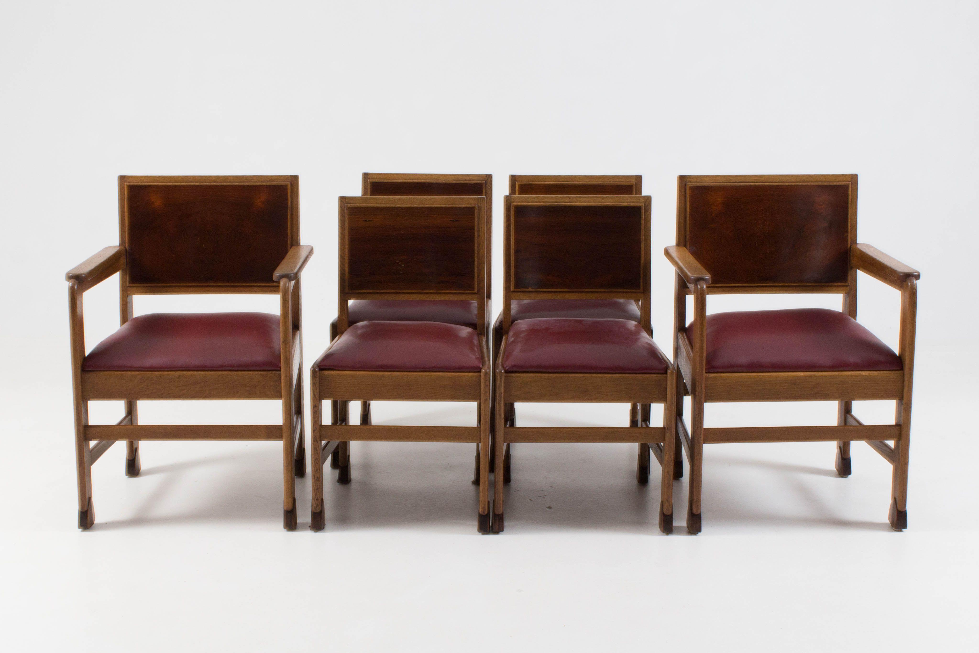 Super Prachtige set van zes Amsterdamse School stoelen (met afbeeldingen UL-79