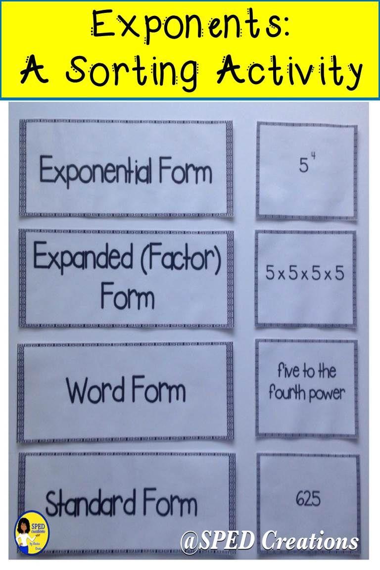 Exponents Sorting Activity Sorting Activities Exponents Student Activities [ 1152 x 768 Pixel ]