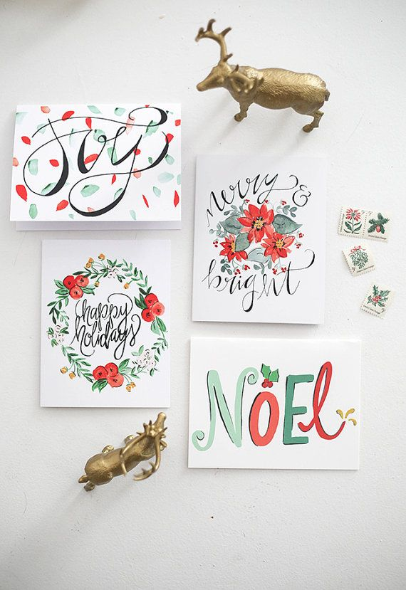 Holiday Greeting Cards Watercolor Mixed Florals Hand Lettering