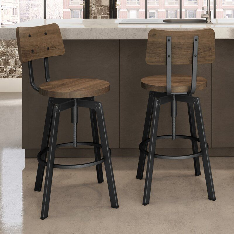 Karly Swivel Solid Wood Adjustable Height Bar Stool In 2020 Farmhouse Bar Stools Vintage Bar Stools Bar Stools