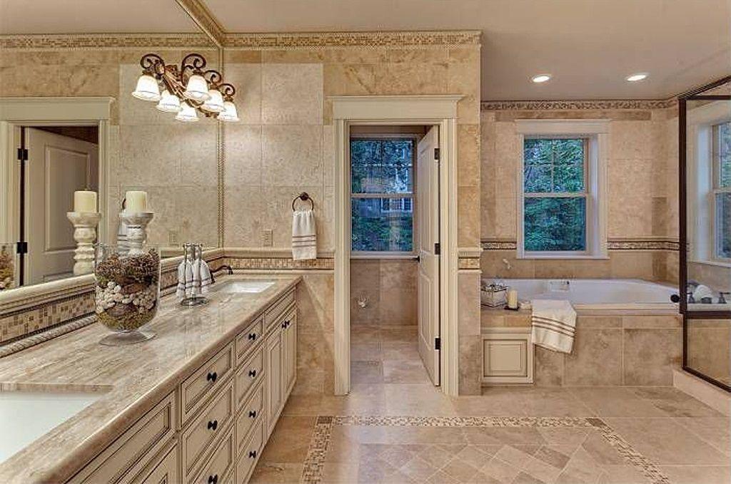 Rustic Master Bathroom With Custom Tile Mosaic Msi Stone Durango