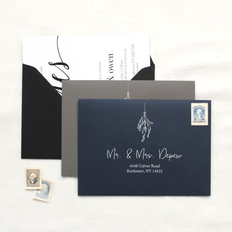 Now Announcing Black Navy And Dark Gray Envelopes With White Addressing You Just Cannot Customizable Wedding Invitations Wedding Details Printed Envelopes