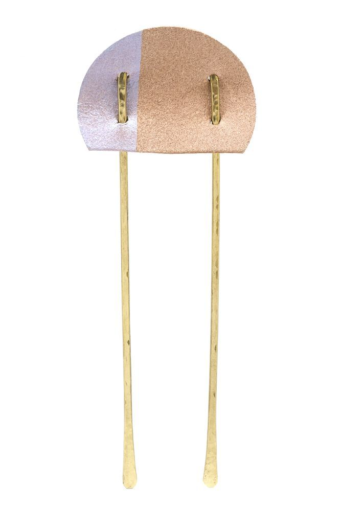 Brass and Leather Colorblock Hair Pin