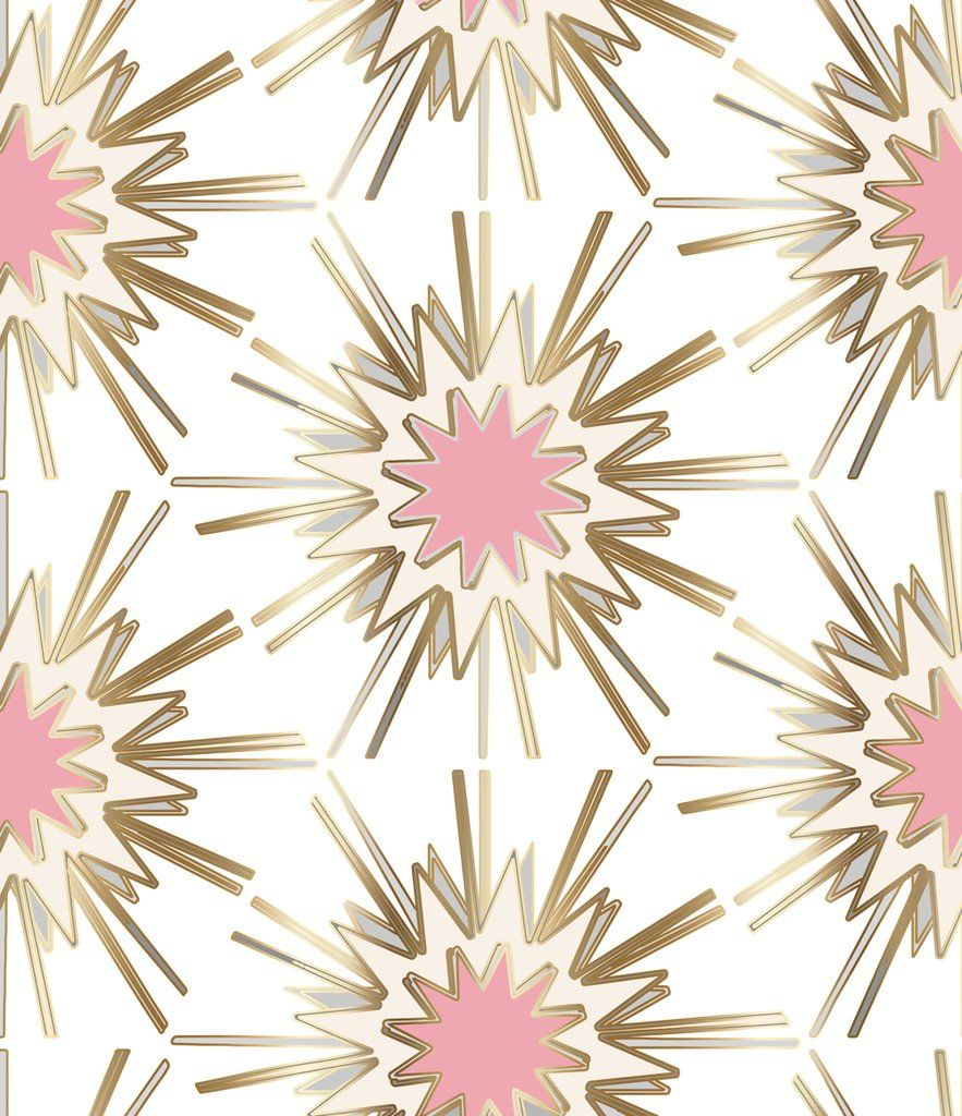 Art Nouveau Interior Design Ideas You Can Easily Adopt In: White, Gold Wallpaper, Pink, Gold