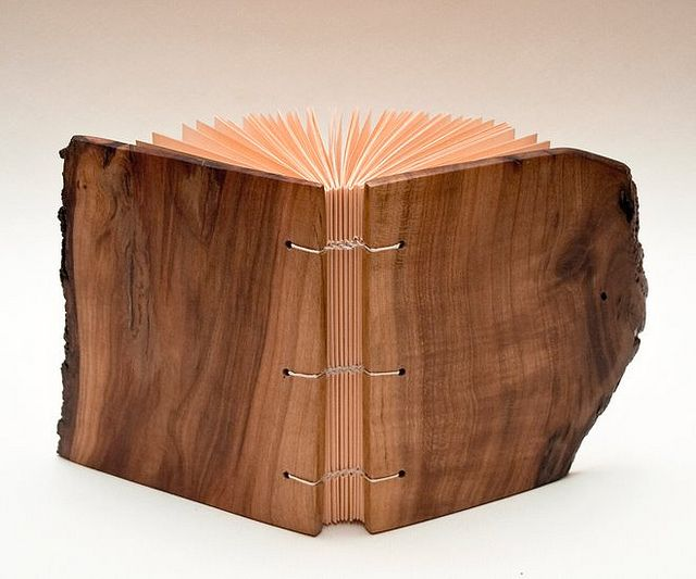 Wood Cover Cookbook ~ Prunus stitch woods and bookbinding