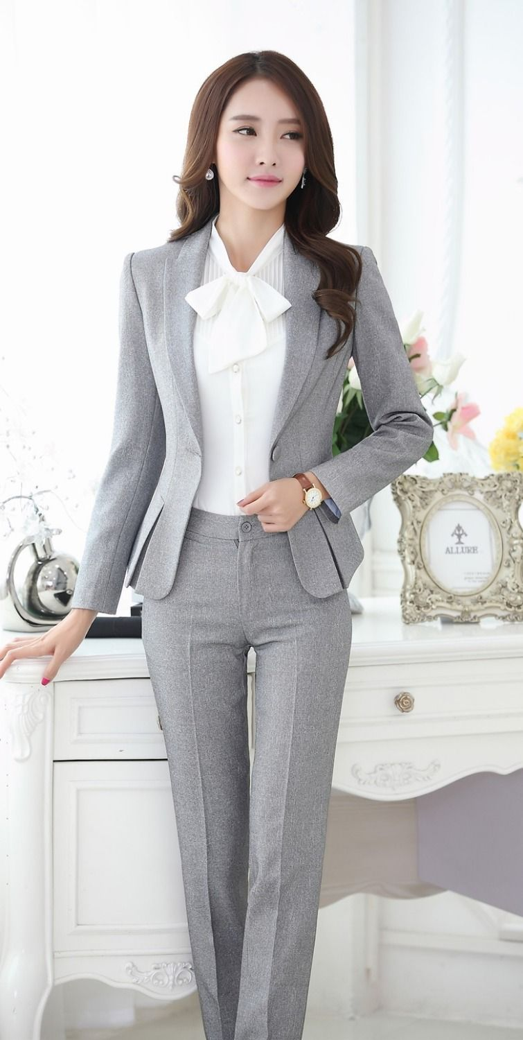 989b49244cc6d Formal Pant Suits for Women Business Suits for Work Wear Sets Gray Blazer  Ladies Office Uniform Styles Pantsuits