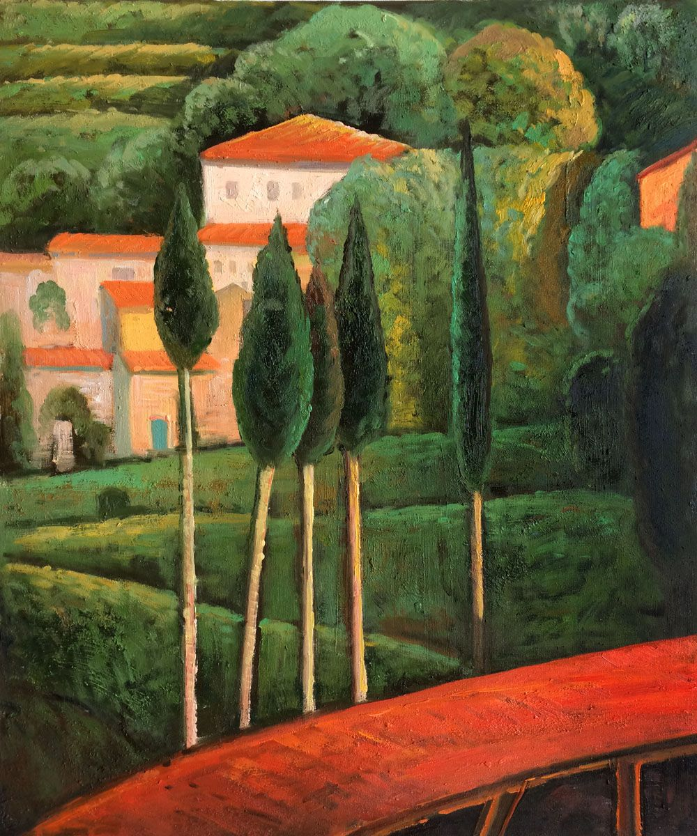 Modigliani reproduction landscape southern france for Hand painting art