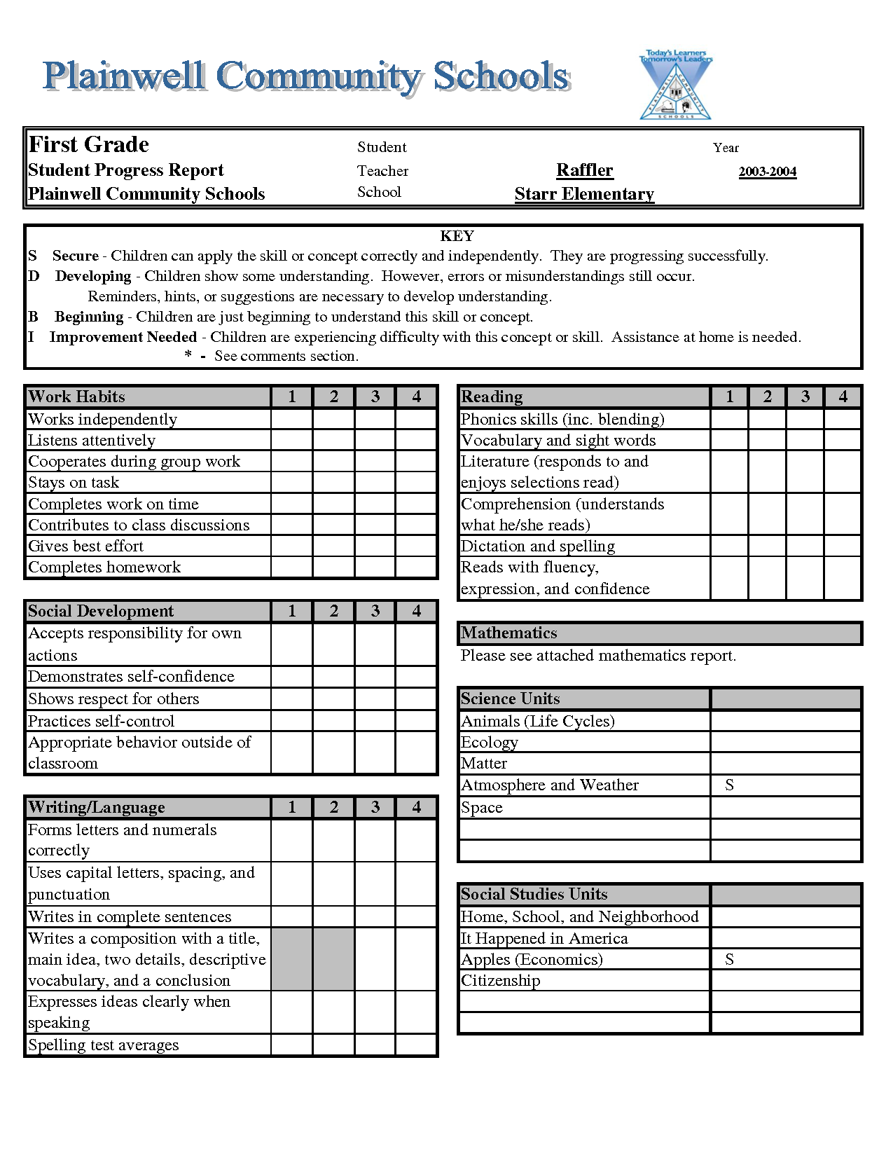 Report card template download legal documents for First grade progress report template