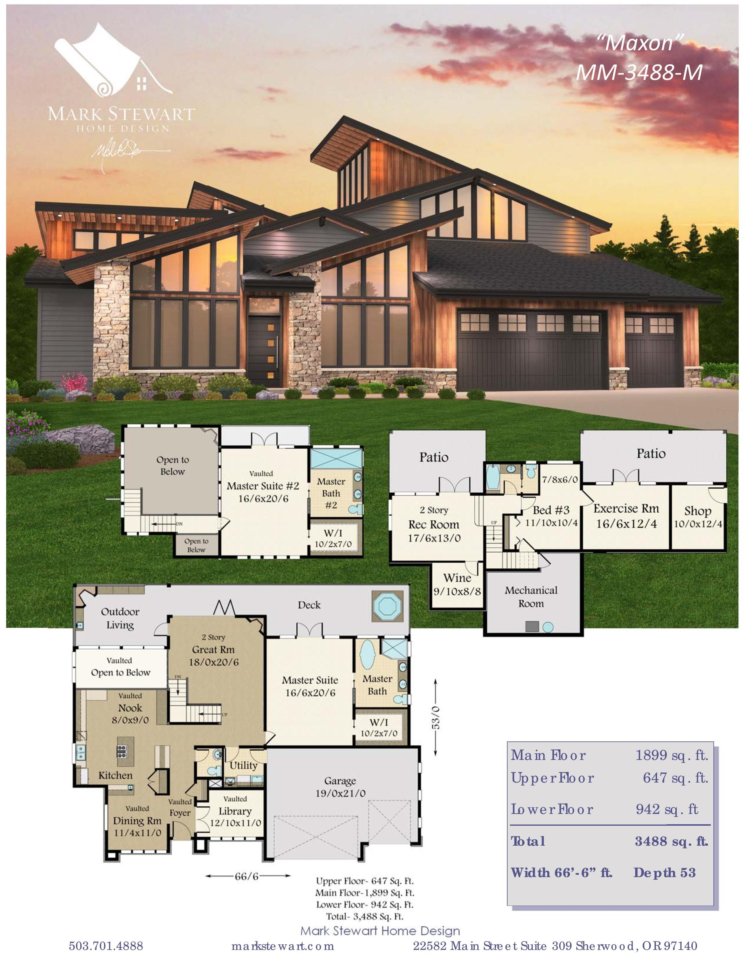 Maxon Two Master Suites Modern Style House Plans Sims House Design Sims House Plans