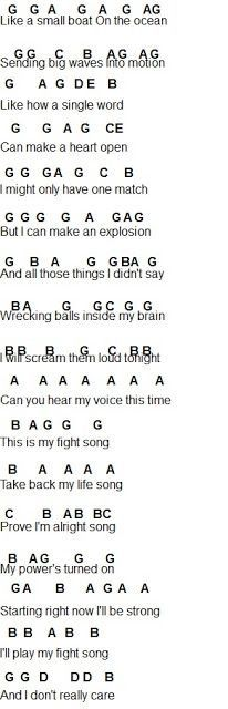 Fight Song Part 1 Sheet Music Flute Sheet Music Piano Music Easy