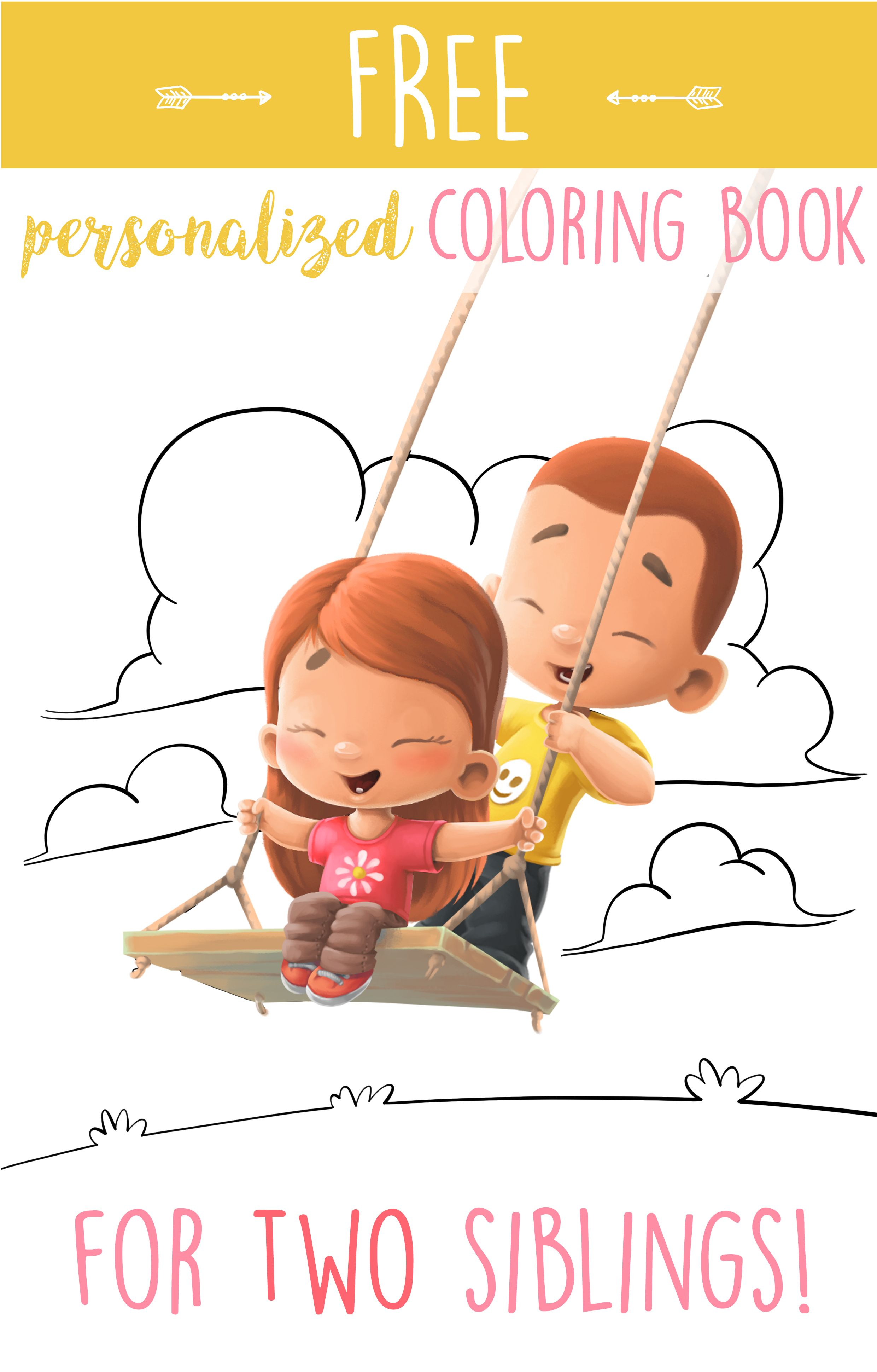 Personalized Coloring Book For Two Siblings Make One For Free Just Click On The Photo So Personalized Coloring Book Coloring Books Childrens Colouring Book