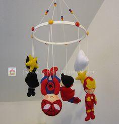♥♥♥ Mobile super heróis... Porque os meninos adoram! by sweetfelt  ideias em feltro