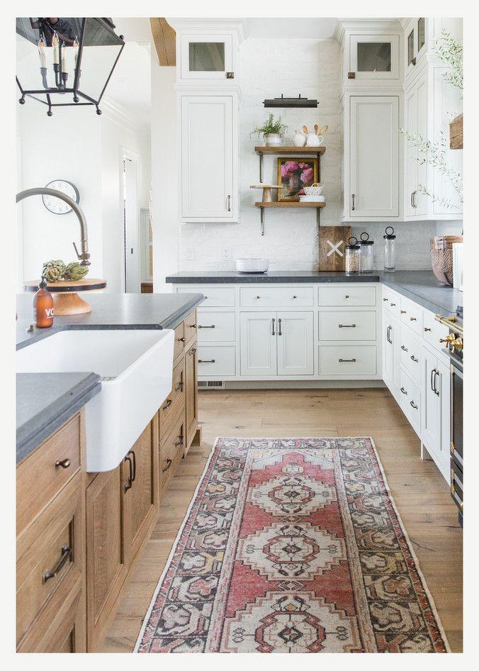 Best Beautiful White Kitchen With Light Wood Island Black 400 x 300