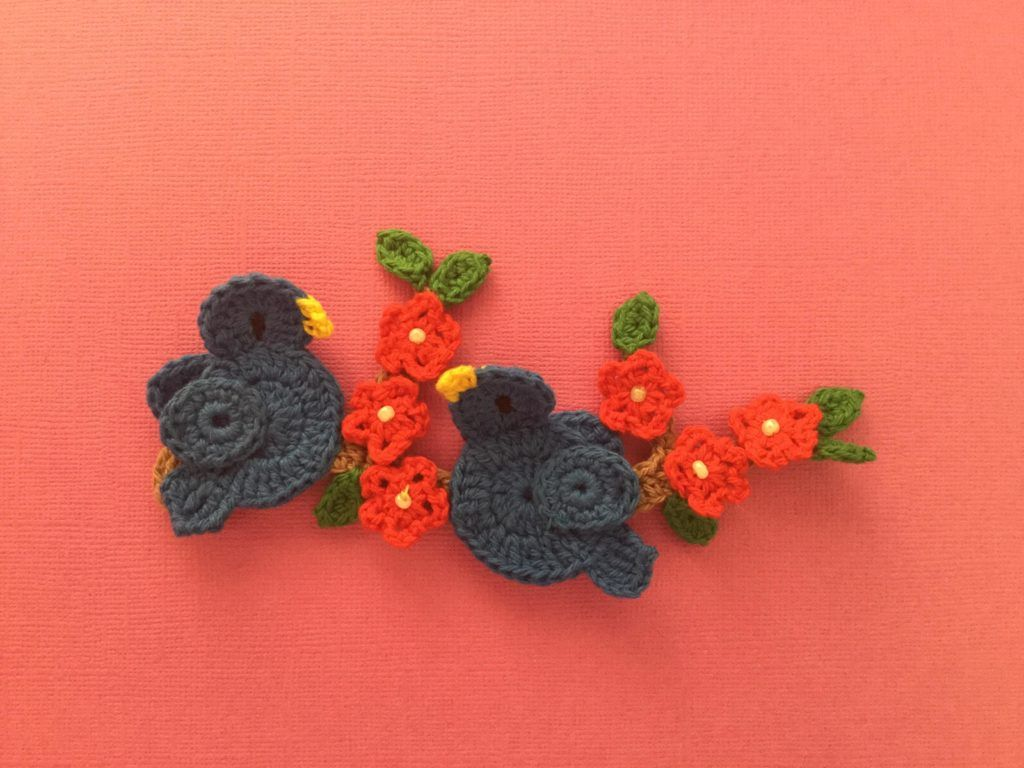 Crochet Pattern Two Birds On A Branch Crochet Flowers Crochet