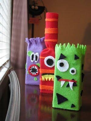 DIY Halloween Treat Bag : DIY Juice Box Monsters