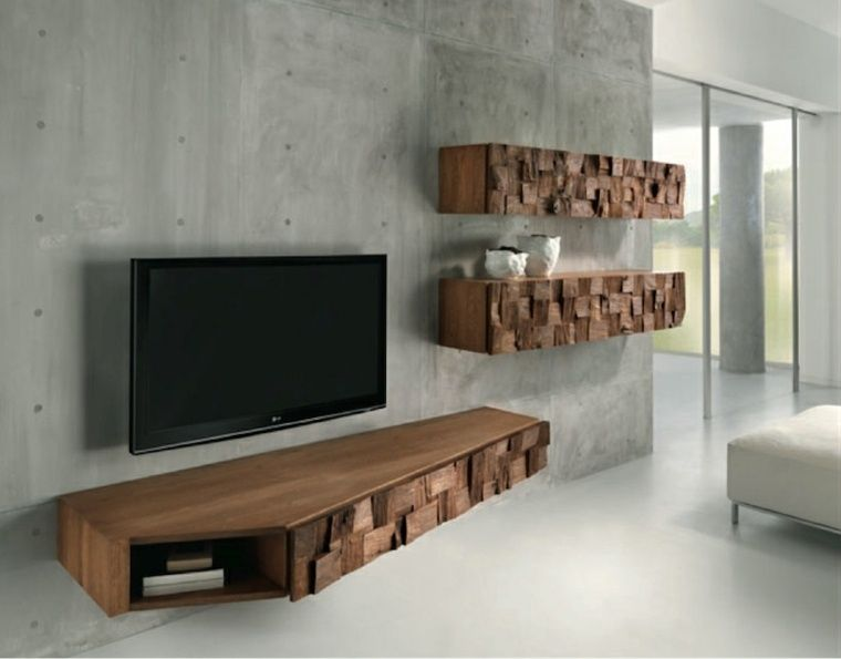 Meuble Tele Suspendu Avec Design Original En Bois Modern Tv Wall Units Wall Unit Designs Tv Wall Unit