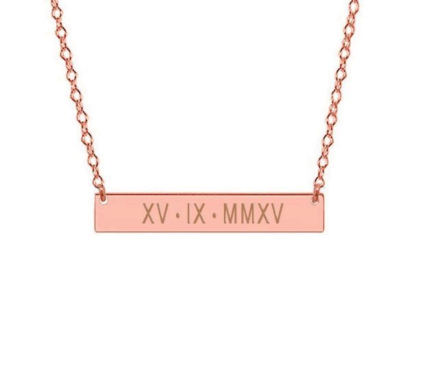 Roman Numerals Bar Necklace Rose Gold Wedding Date Bar