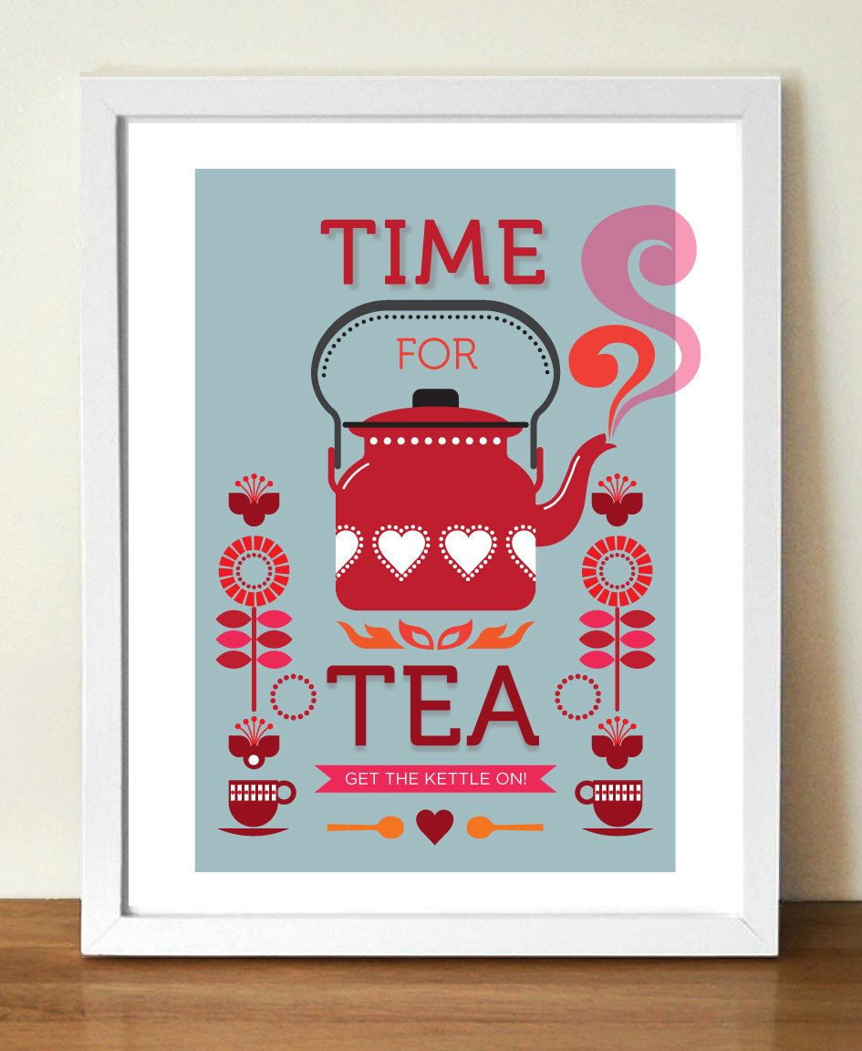 Tea Print, Mid Century Poster, Time For Tea, Retro Kitchen Art, A3