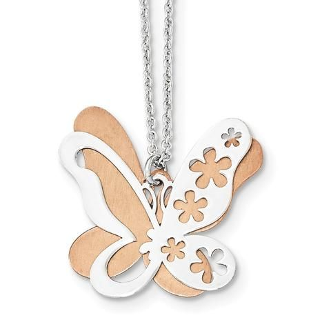 Sterling Silver Rose Gold Plated Polished/Brushed Butterfly Necklace