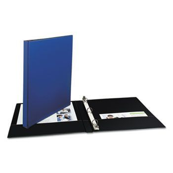 "Economy Non-View Binder With Round Rings, 11 X 8 1/2, 1/2"" Capacity, Blue"
