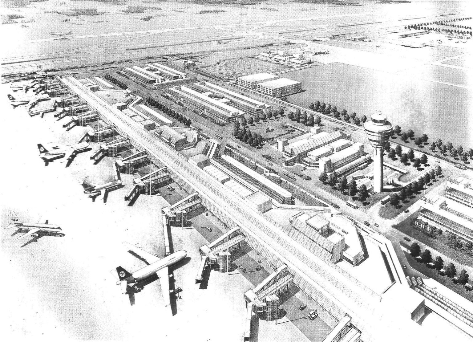 Existing International Airport Layouts Aerial View