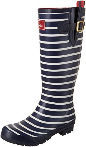 Joules Women S Welly Print Rain Boot French Navy Stripe Wellies Boots Boots Rain Boots