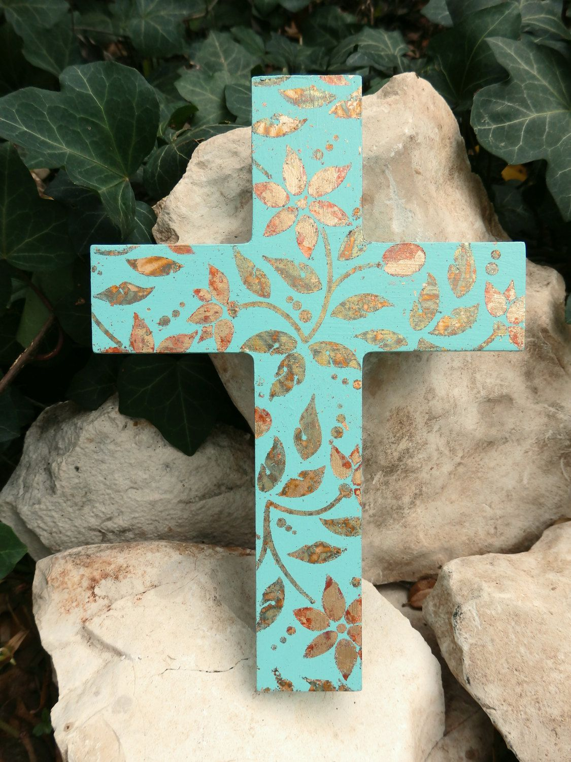 Turquoise blue wooden wall cross with gold leaf flowers colorful